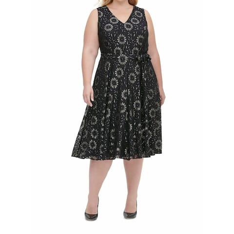 Tommy Hilfiger Women's Dress Plus A-Line Metallic Lace