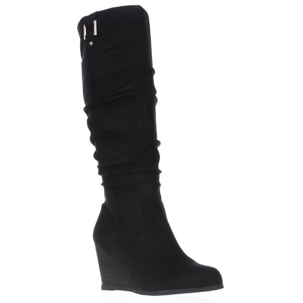 Dr. Scholls Poe Wide Calf Slouch Wedge Boots, Black