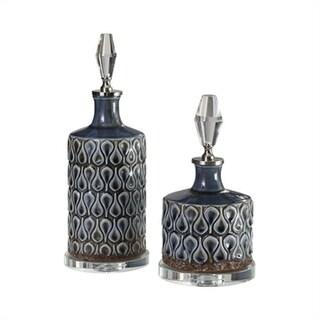 Set of 2 Varuna Cobalt Blue Bottles - N/A