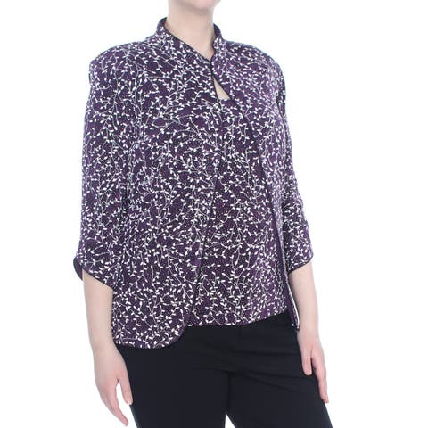 ALEX EVENINGS Womens Purple And Shell Printed Mandarin Jacket Plus Size: 3XL