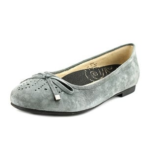 Propet Emma Women Round Toe Suede Gray Flats