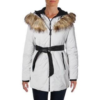 Noize Womens Pam Basic Coat Faux Fur Hooded