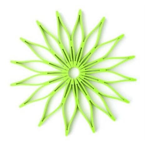 HIC 16815 Spice Ratchet Blossom Multi, Use Silicone Trivet, Kiwi Green