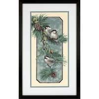 "Chickadees On A Branch Stamped Cross Stitch Kit-8""X16"""
