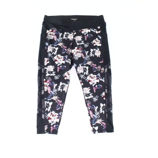 dc4a7a8bdd2a3 Shop Ideology Black Womens Size 3X Plus Floral Mesh Ankle Active Leggings -  Free Shipping On Orders Over $45 - Overstock - 28252772