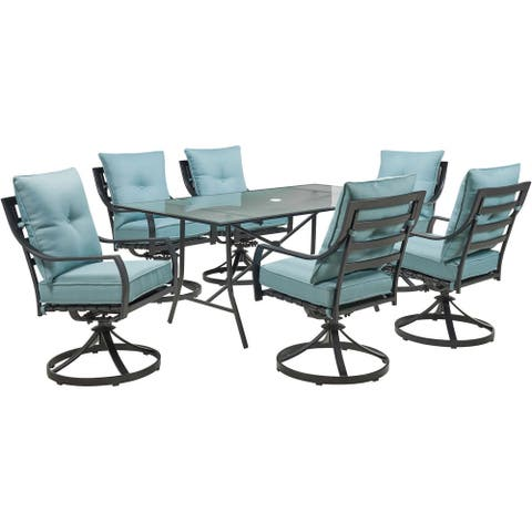 """Hanover Lavallette 7-Piece Dining Set in Ocean Blue with 6 Swivel Rockers and a 66"""" x 38"""" Glass-Top Table"""