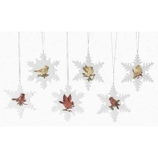 Pack of 12 Nature's Story Teller Cardinal on Snowflake Christmas Ornaments