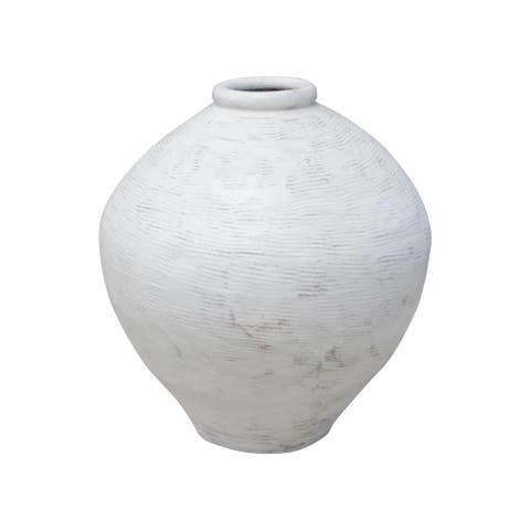Lily's Living Extra Large Vintage Pot with White Paint, 23 Inch Tall, Off White (Size & Finish Vary)