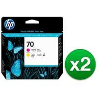 HP 70 Magenta & Yellow DesignJet Printhead (C9406A) (2-Pack)