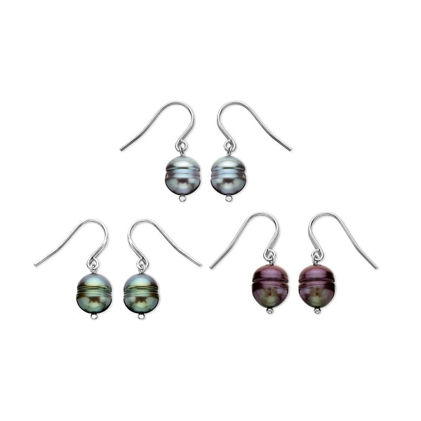 Honora Multi-Color Freshwater Pearl Drop Earring Set in Sterling Silver