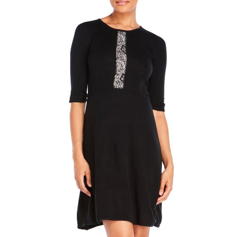 Betsey Johnson Elbow Sleeve Sweater Dress with Lace Detail Black Small