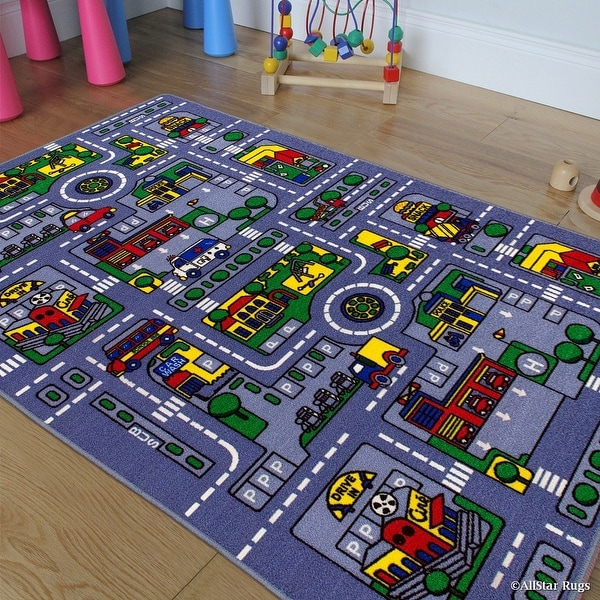 "Allstar Kids / Baby Room Area Rug. City Map. Urban. Streets with Vibrant Colors (7' 3"" x 10' 2"")"