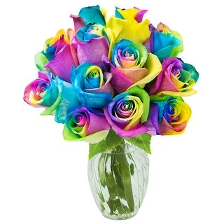 KaBloom: Fresh Cut Rainbow Rose Bouquet of 12 Rainbow-Swirl Roses with Vase