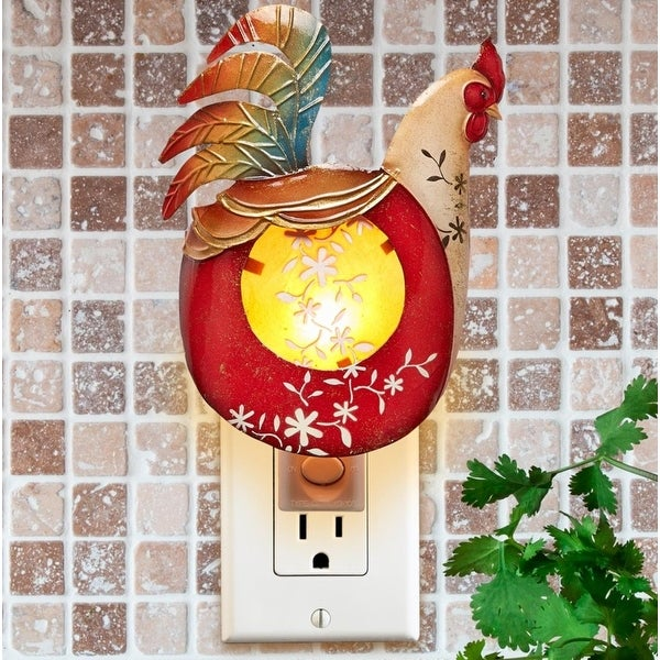 """Pack of 2 Red and Gold Capiz Shell Rooster with Floral Accent Night Light 7"""""""