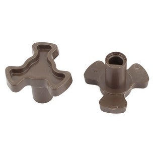 7mm Hole Brown Plastic Microwave Oven Turntable Coupler 2 Pieces