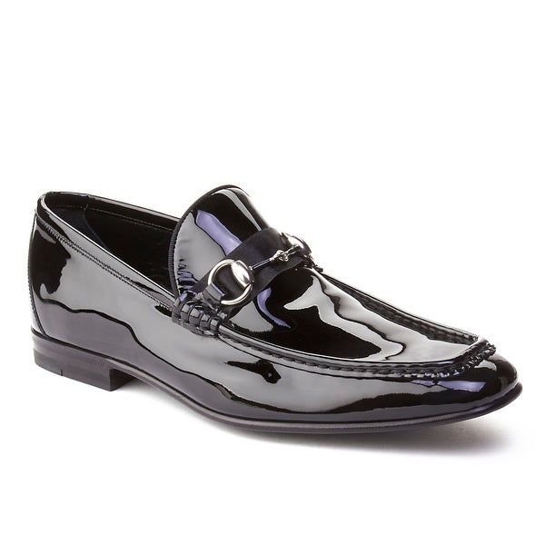 ab924e0b805 Shop Gucci Men s Patent Leather Horsebit Loafer Shoes Black - Free ...