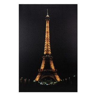 """23.5"""" LED Lighted Famous Eiffel Tower Paris France at Night Canvas Wall Art - N/A"""