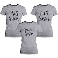 Big Sister Lady's T-shirt Short Sleeve Heather Grey Cotton Tee Gift For Sister