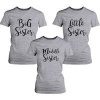 Little Sister Lady's Shirt Short Sleeve Heather Grey Cotton Tee Gift For Sister