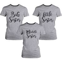 Middle Sister Lady's Shirt Short Sleeve Heather Grey Cotton Tee Gift For Sister