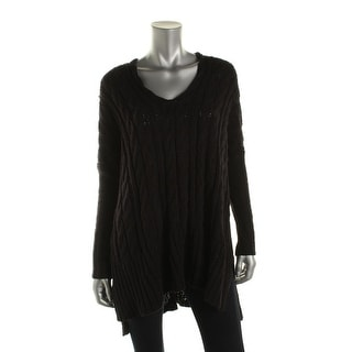 Free People Womens Cable Knit Oversized Tunic Sweater
