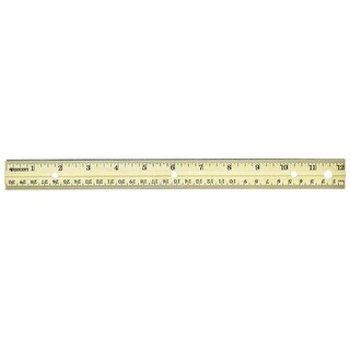 Westcott Sturdy Metal Edge Hardwood Ruler - Metric and Standard with Three-Hole Punched, 12 in L, Pack of 36