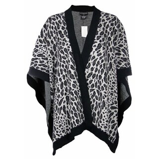 Sutton Studio Womens Merino Wool Leopard Poncho Wrap Misses