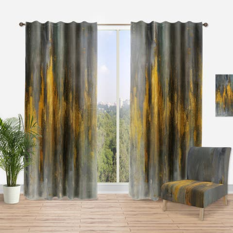 Designart 'Black and Gold Glam Abstract' Modern Curtain Panel