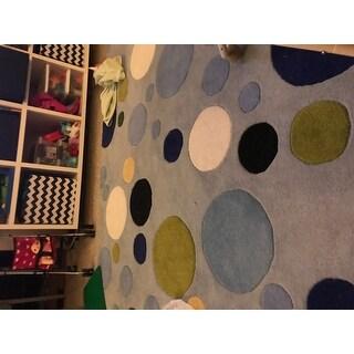 Safavieh Handmade Bubblegum Light Blue/ Multi N. Z. Wool Rug - 6' X 9'