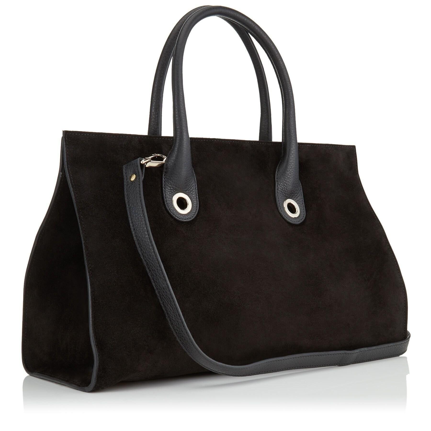 Large Riley Black Suede Crosta Handbag