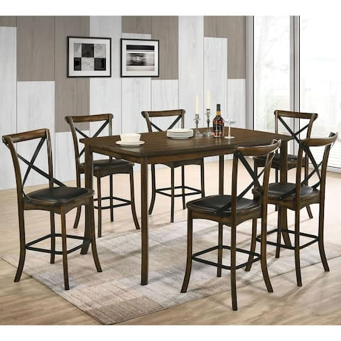 Furniture of America Dola Transitional Oak 7-piece Counter Dining Set