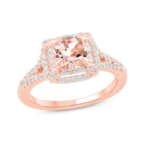 Cali Trove 10KT Pink Gold 1/3 ct TDW & Morganite fashion ring.