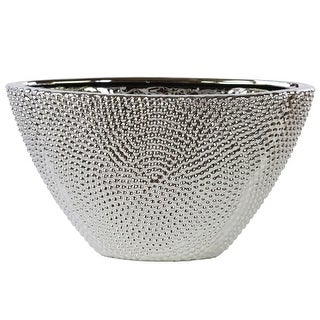 Stoneware Beaded Vase With Tapered Bottom, Silver