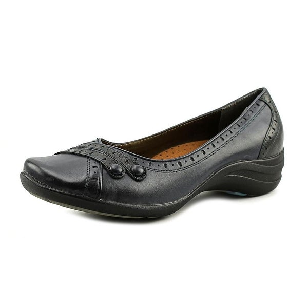 Hush Puppies Burlesque Women EW Round Toe Leather Blue Flats