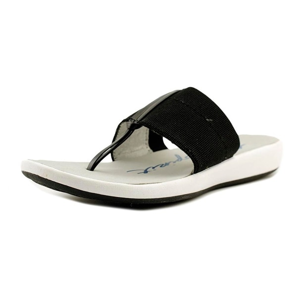 Easy Spirit Olenka Women Open Toe Canvas Black Thong Sandal