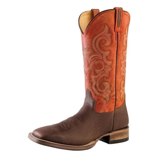 Old West Cowboy Boots Mens Square Brown Truffle Antique Red