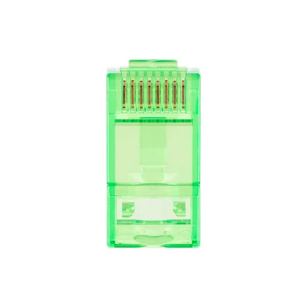 100 Pcs//Pack Green Gold Plated Contacts Monoprice 8P8C RJ45 Plug with Inserts for Solid Cat6 Ethernet Cable