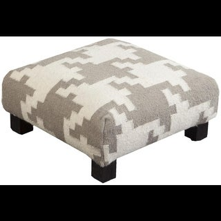 "19"" Ivory and Gray Upholstered Wool and Wooden Foot Stool Ottoman"