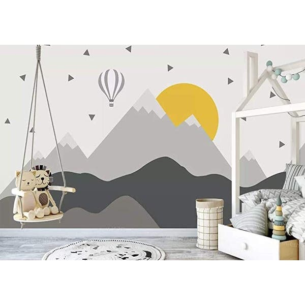 Hot Air Balloon Kids Mountain Textile Wallpaper Overstock 30920341