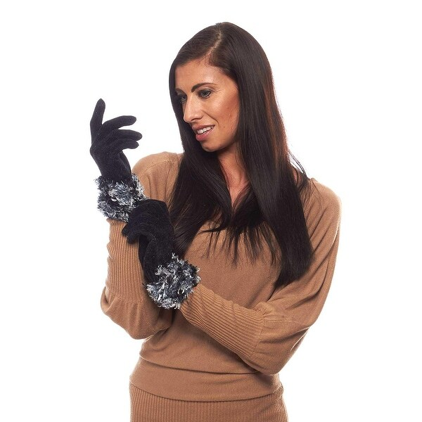 Wintery Mix Chenille Gloves with Combo Fluffy Cuff
