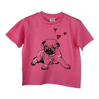 Little Girls Pink Dog Pub Heart Graphic Print Short Sleeve Cotton T-Shirt