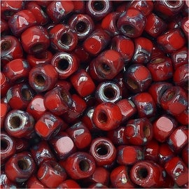 Czech Glass, Tri-Cut 6/0 Matubo Seed Beads, 8 Grams, Opaque Coral Red Picasso
