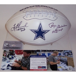 Troy Aikman & Roger Staubach Autographed Hand Signed Dallas Cowboys Logo Football - PSA/DNA