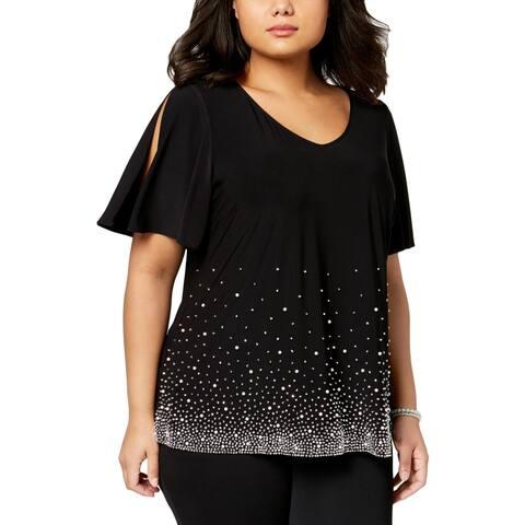 MSK Womens Plus Knit Top Embellished Cold Shoulder