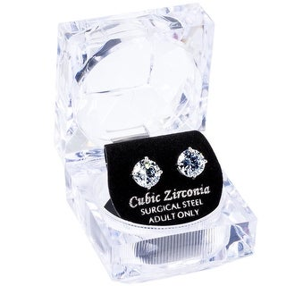 8mm Round White CZ Stud Earrings W/Crystal Gift Box by Simon Frank Designs