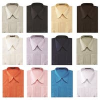 Men's Pleated French Cuff Pat Riley Collar Dress Shirt with Cufflinks