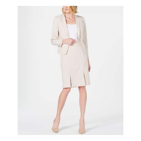 LE SUIT Womens Beige Collarless Wear To Work Jacket Size 14