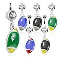 Football Dangle Multi Colored 316L Surgical Steel Navel Belly Button Ring with (Sold Ind.) - Thumbnail 0