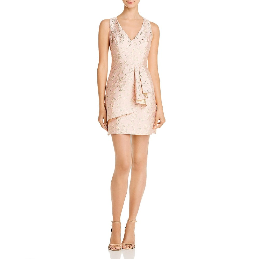 BCBG Max Azria Womens Cocktail Dress Metallic Floral - Bare Pink