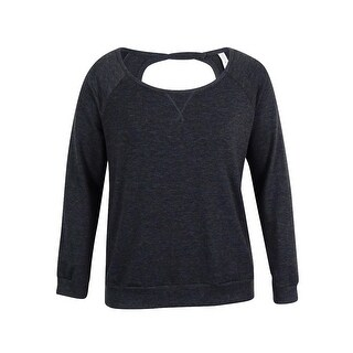 Ideology Women's Boat Neck Cut Out Back Sweatshirt - Heather Charcoal - xL